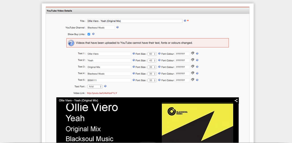 Create fully branded music videos and upload them to your YouTube channel