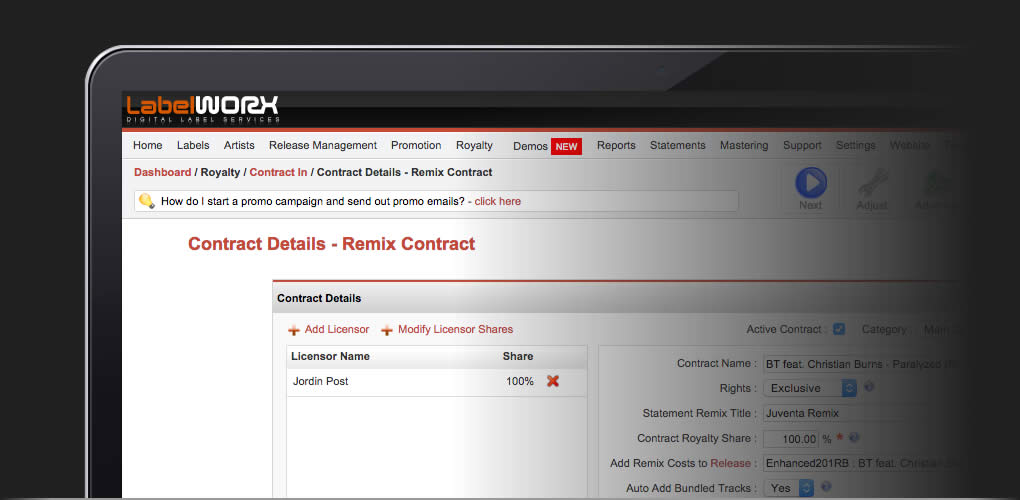 Agree special terms with remixers and issue a remix specific statement
